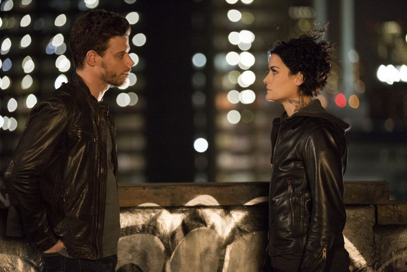 "BLINDSPOT -- ""Scientists Hollow Fortune"" Episode 112 -- Pictured: (l-r) Francois Arnaud as Oscar, Jaimie Alexander as Jane Doe -- (Photo by: {Paul Sarkis/NBC)"