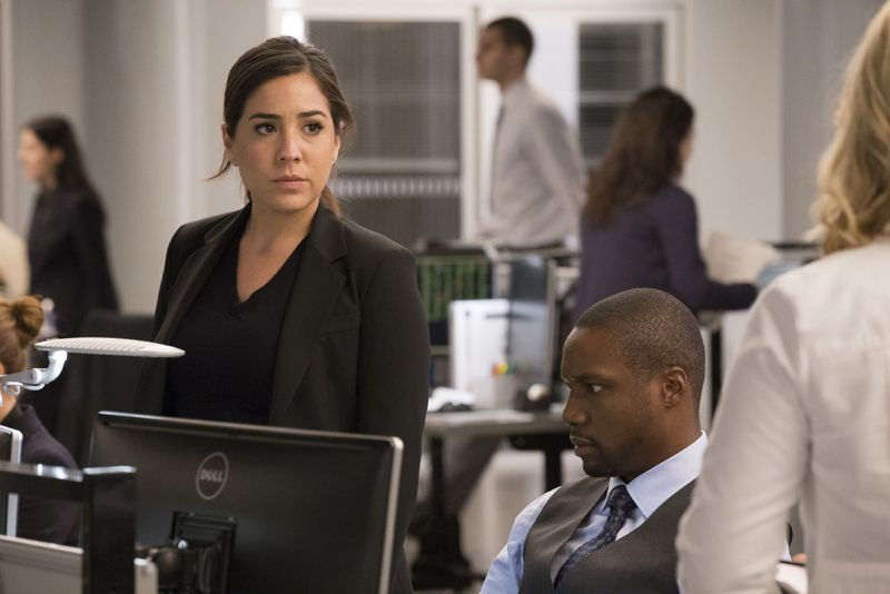 "BLINDSPOT -- ""Scientists Hollow Fortune"" Episode 112 -- Pictured: (l-r) Audrey Esparza as Zapata, Rob Brown as Reade -- (Photo by: {Paul Sarkis/NBC)"