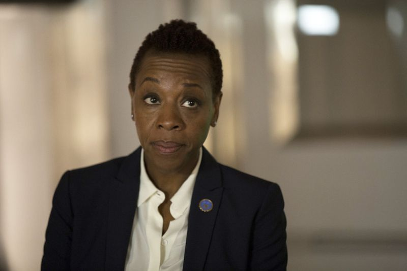 "BLINDSPOT -- ""Scientists Hollow Fortune"" Episode 112 -- Pictured: Marianne Jean-Baptiste as Mayfair -- (Photo by: {Paul Sarkis/NBC)"