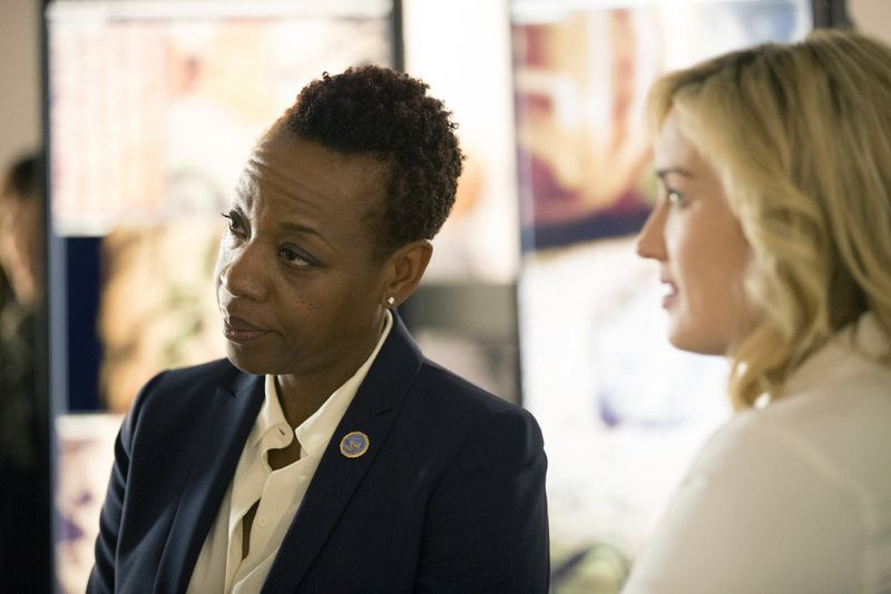 "BLINDSPOT -- ""Scientists Hollow Fortune"" Episode 112 -- Pictured: (l-r) Marianne Jean-Baptiste as Mayfair, Ashley Johnson as Patterson -- (Photo by: {Paul Sarkis/NBC)"