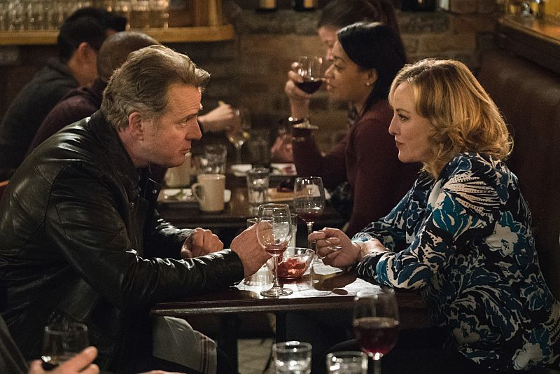 """""""Up to Heaven and Down to Hell"""" -- When Watson runs into Captain Gregson and his secret girlfriend (Virginia Madsen), a former NYPD officer, she inadvertently sets the couple's breakup in motion. Also, Holmes and Watson investigate the murder of a wealthy woman who left her considerable estate solely to a beloved dog, on ELEMENTARY, Thursday, March 3 (10:00-11:00 PM, ET/PT) on the CBS Television Network. Pictured (L-R) Aidan Quinn as Captain Tommy Gregson and Academy Award nominee Virginia Madsen as Paige Photo: Michael Parmelee/CBS ©2016 CBS Broadcasting, Inc. All Rights Reserved"""