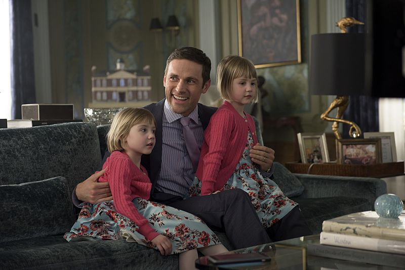 """""""Arrangement in Grey and Black"""" - A prominent Boston family reels in the wake of the chilling discovery that someone in their midst is linked to an infamous string of murders, on the series premiere of  """"American Gothic,"""" Tuesday, June 22 (10:00-11:00PM, ET/PT), on the CBS Television Network.  Juliet Rylance, Antony Starr, Virginia Madsen, Justin Chatwin, Megan Ketch, Elliot Knight, Stephanie Leonidas and Gabriel Bateman star.  Pictured: Dylan Bruce (Tom Price), Natalie and Nora Prinzer-Klages (Harper and Violet Price)  Photo: Christos Kalohoridis/CBS ©2016 CBS Broadcasting, Inc. All Rights Reserved."""