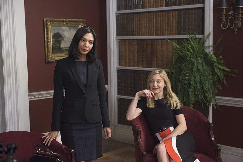 """""""Arrangement in Grey and Black"""" - A prominent Boston family reels in the wake of the chilling discovery that someone in their midst is linked to an infamous string of murders, on the series premiere of  """"American Gothic,"""" Tuesday, June 22 (10:00-11:00PM, ET/PT), on the CBS Television Network.  Juliet Rylance, Antony Starr, Virginia Madsen, Justin Chatwin, Megan Ketch, Elliot Knight, Stephanie Leonidas and Gabriel Bateman star.  Pictured: Maureen Sebastian (Naomi Flynn), Juliet Rylance (Alison Hawthorne-Price)   Photo: Christos Kalohoridis/CBS ©2016 CBS Broadcasting, Inc. All Rights Reserved."""