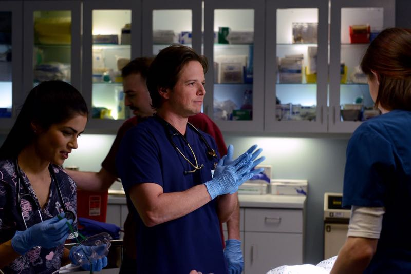 "THE NIGHT SHIFT -- ""The Times They Are-A-Changin"" Episode 301 -- Pictured: (l-r) Scott Wolf as Dr. Scott Clemmens, Jill Flint as Jordan Alexander -- (Photo by: Ursula Coyote/NBC)"