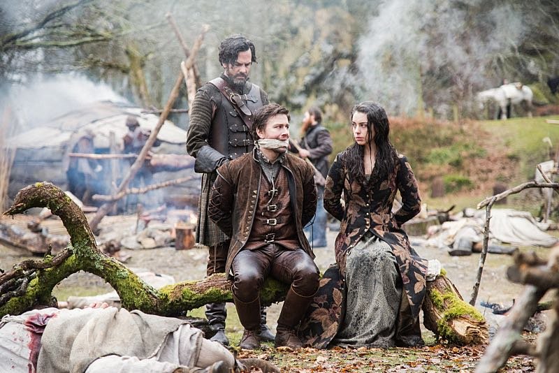 """Reign -- """"Clans"""" -- Image Number: RE316d_0032.jpg -- Pictured (L-R): Adam Kenneth Wilson as Duncan, Torrance Coombs as Bash and Adelaide Kane as Mary, Queen of Scots -- Photo: Bernard Walsh/The CW -- © 2016 The CW Network, LLC. All rights reserved."""