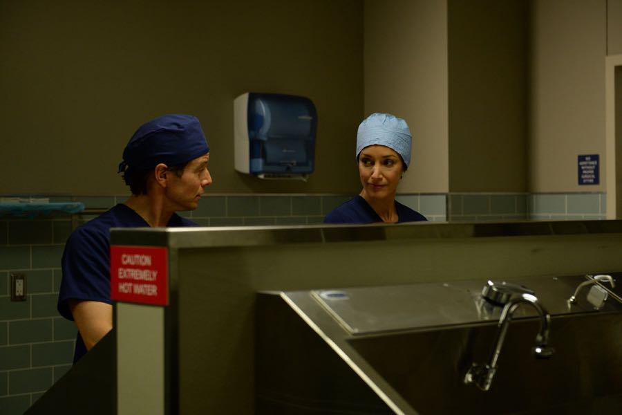 "THE NIGHT SHIFT -- ""By Dawn's Early Light"" Episode 307 -- Pictured: (l-r) Scott Wolf as Dr. Scott Clemmens, Jennifer Beals as Syd Jennings -- (Photo by: Ursula Coyote/NBC)"