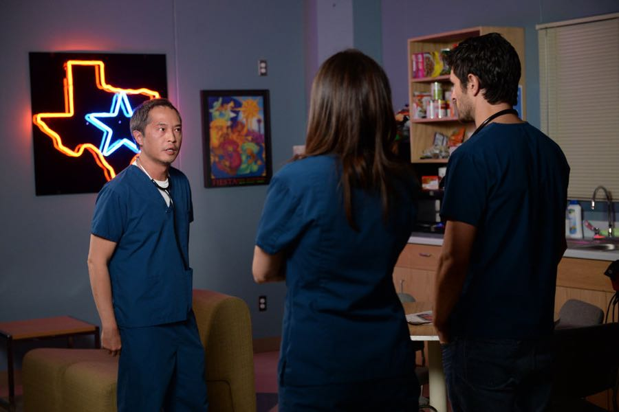 "THE NIGHT SHIFT -- ""By Dawn's Early Light"" Episode 307 -- Pictured: (l-r) Ken Leung as Dr. Topher Zia, Jill Flint as Dr. Jordan Alexander, Eoin Macken as Dr. TC Callahan -- (Photo by: Ursula Coyote/NBC)"