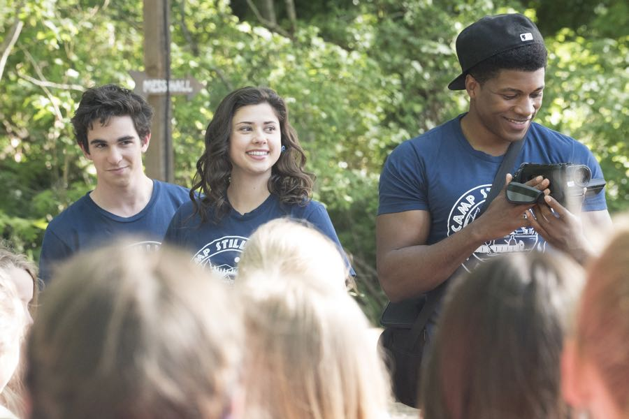 """DEAD OF SUMMER - """"Barney Rubble Eyes"""" - A new camper finds himself in the middle of the mystery of Camp Stillwater in """"Barney Rubble Eyes,"""" an all new episode of """"Dead of Summer,"""" airing TUESDAY, JULY 5 (9:00 – 10:00 p.m. EDT) on Freeform. (Freeform/Katie Yu) ZACHARY GORDON, AMBER CONEY, ELI GOREE"""