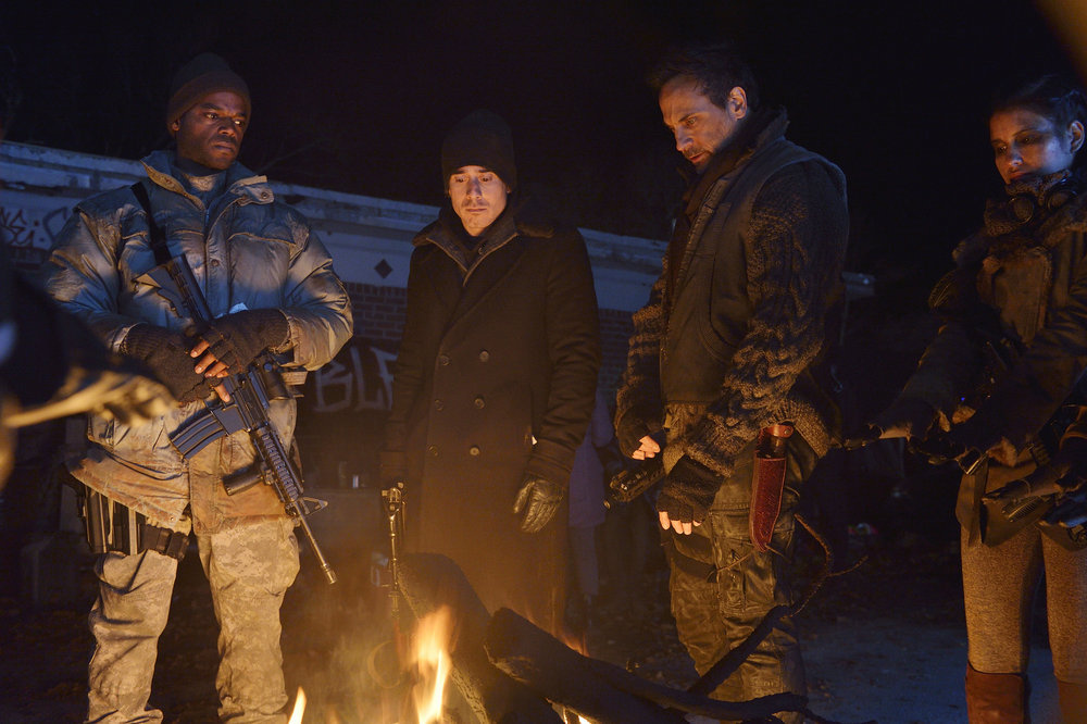 """12 MONKEYS -- """"Blood Washed Away"""" Episode 212 -- Pictured: (l-r) Demore Barnes as Whitley, Kirk Acevedo as Jose Ramse, Todd Stashwick as Deacon, -- (Photo by: Ben Mark Holzberg/Syfy)"""