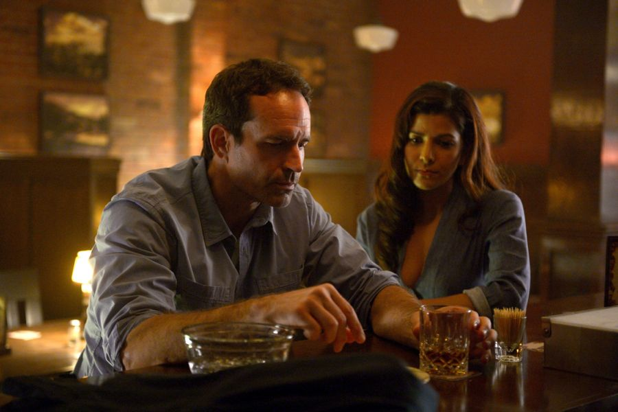 "WAYWARD PINES: L-R: Jason Patric and Nimrat Kaur in the ""City Upon A Hill"" episode of WAYWARD PINES airing Wednesday, June 29 (9:00-10:00 PM ET/PT) on FOX. ©2016 Fox Broadcasting Co. Cr: Sergei Bashlakov/FOX"