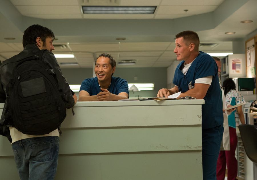 "THE NIGHT SHIFT-- ""Hot In the City"" Episode 306 -- Pictured: (l-r) Eoin Macken as Dr. TC Callahan, Ken Leung as Dr. Topher Zia, Brendan Fehr as Dr. Drew Alister -- (Photo by: John Britt/NBC)"