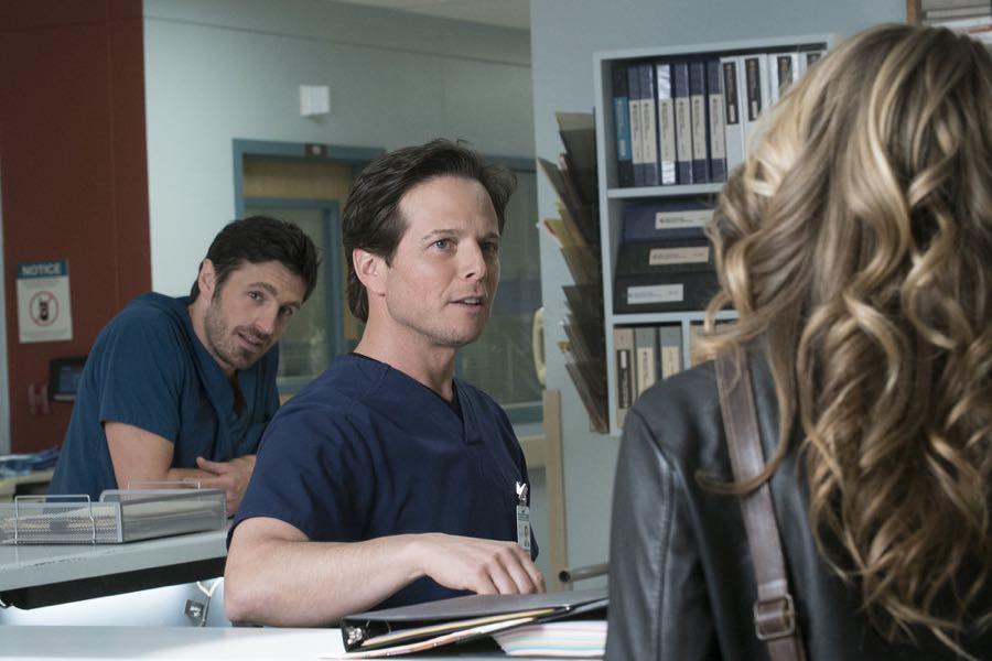 """THE NIGHT SHIFT-- """"Get Busy Living"""" Episode 305 -- Pictured: (l-r) Eoin Macken as Dr. TC Callahan, Scott Wolf as Dr. Scott Clemmens -- (Photo by: John Britt/NBC)"""