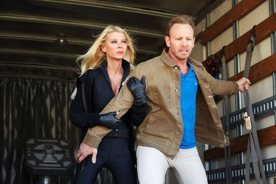 SHARKNADO: THE 4TH AWAKENS -- Pictured: (l-r) Tara Reid as April Shepard, Ian Ziering as Fin Shepard -- (Photo by: Tyler Golden/Syfy)