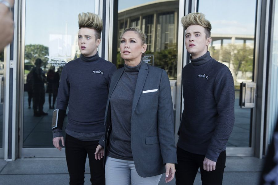 SHARKNADO: THE 4TH AWAKENS -- Pictured: (l-r) Jedward as Astrotechs, Kym Johnson as Supervisor Gwen -- (Photo by: Patrick Wymore/Syfy)