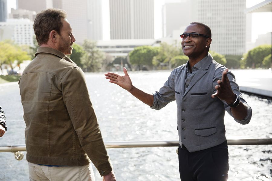 SHARKNADO: THE 4TH AWAKENS -- Pictured: (l-r) Ian Ziering as Fin Shepard, Tommy Davidson as Aston Reynolds -- (Photo by: Patrick Wymore/Syfy)