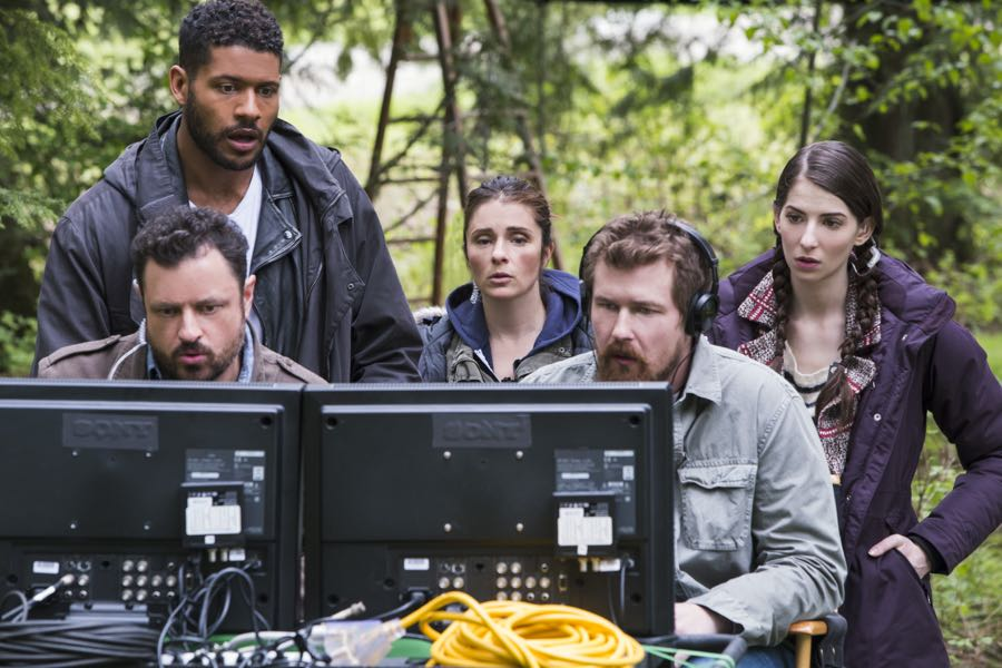 (L to R) Jeffrey Bowyer-Chapman, Shiri Appleby, Genevieve Buechner and Josh Kelly star in Season 2 of Lifetime's hit drama UnREAL airing, Monday, June 27th at 10pm ET/PT on Lifetime. Photo by James Dittiger Copyright 2016