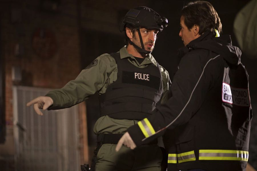 """THE NIGHT SHIFT-- """"Three-Two-One"""" Episode 304 -- Pictured: (l-r) Eoin Macken as Dr. TC Callahan, Scott Wolf as Dr. Scott Clemmens -- (Photo by: Cathy Kanavy/NBC)"""