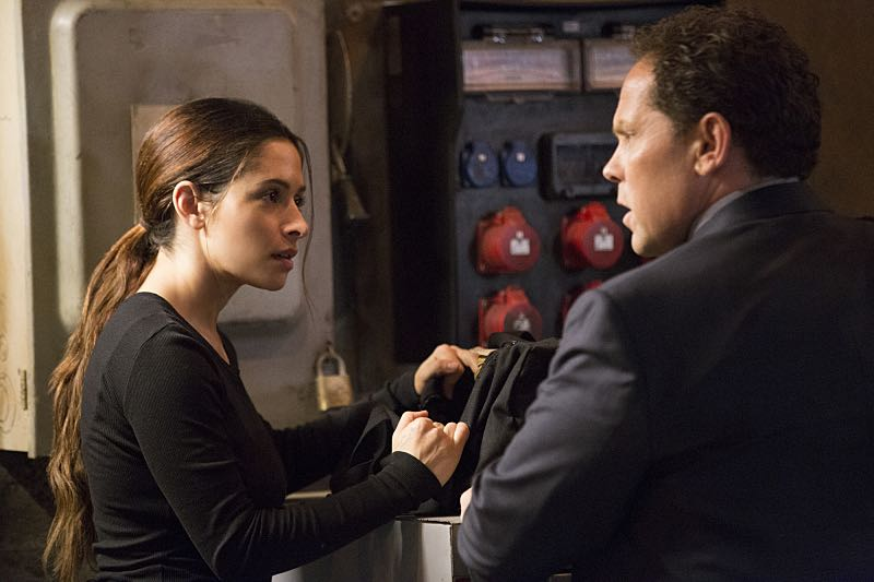 """Return 0"" -- The team must embark on one last suicide mission to prevent Samaritan from destroying The Machine and cementing its hold over mankind, on the series finale of PERSON OF INTEREST, Tuesday, June 21 (10:00 -- 11:00 PM ET/PT) on the CBS Television Network. Pictured L-R: Sarah Shahi as Sameen Shaw and Kevin Chapman as Lionel Fusco Photo: Giovanni Rufino/Warner Bros. Entertainment Inc. ©2016 WBEI. All rights reserved."
