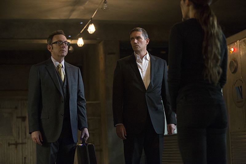 """Return 0"" -- The team must embark on one last suicide mission to prevent Samaritan from destroying The Machine and cementing its hold over mankind, on the series finale of PERSON OF INTEREST, Tuesday, June 21 (10:00 -- 11:00 PM ET/PT) on the CBS Television Network. Pictured L-R: Michael Emerson as Harold Finch, Jim Caviezel as John Reese, and Sarah Shahi as Sameen Shaw Photo: Giovanni Rufino/Warner Bros. Entertainment Inc. ©2016 WBEI. All rights reserved."