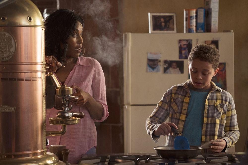 Christine Adams as Rie Moran, Elijah Jacob as TJ Moran; group- Feed The Beast _ Season 1, Episode 1 - Photo Credit: Ali Paige Goldstein/Lionsgate Television/AMC