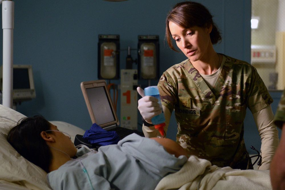 """THE NIGHT SHIFT -- """"The Thing With Feathers"""" Episode 302 -- Pictured: (l-r) Jennifer Beals as Syd Jennings, Brendon Fehr as Dr. Drew Alister -- (Photo by: Ursula Coyote/NBC)"""