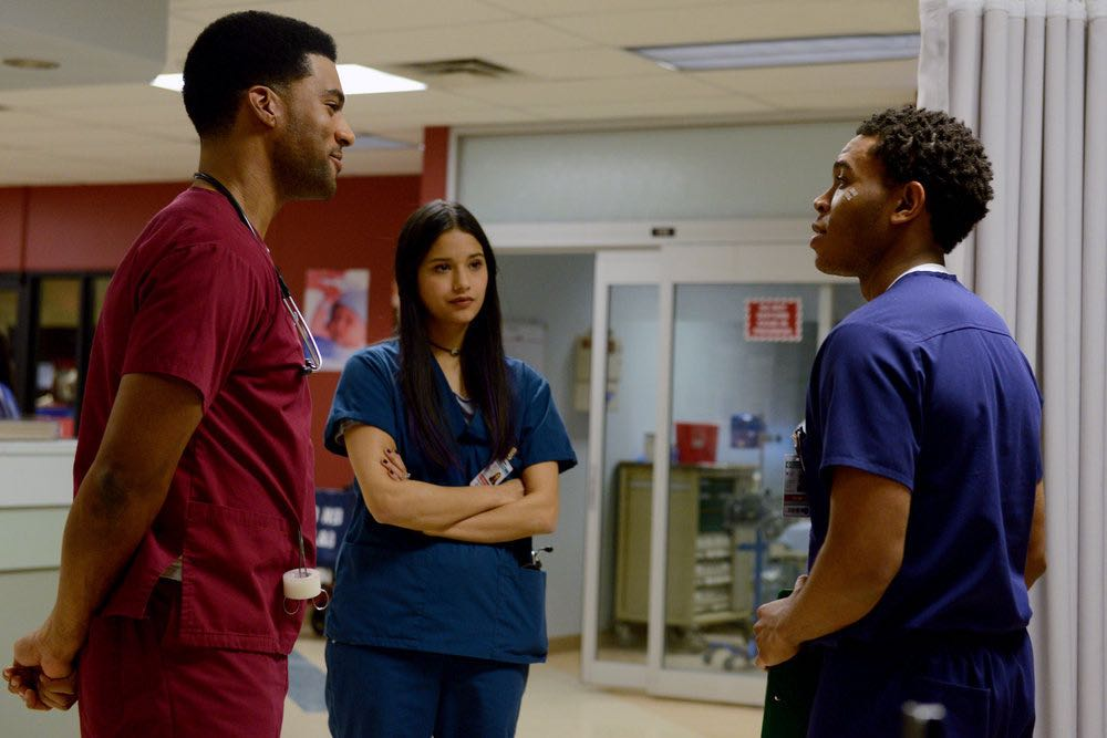 """THE NIGHT SHIFT -- """"The Thing With Feathers"""" Episode 302 -- Pictured: (l-r) JR Lemon as Kenny Fournette, Tanaya Beatty as Shannon Rivera, Robert Bailey, Jr. as Dr. Paul Cummings -- (Photo by: Ursula Coyote/NBC)"""