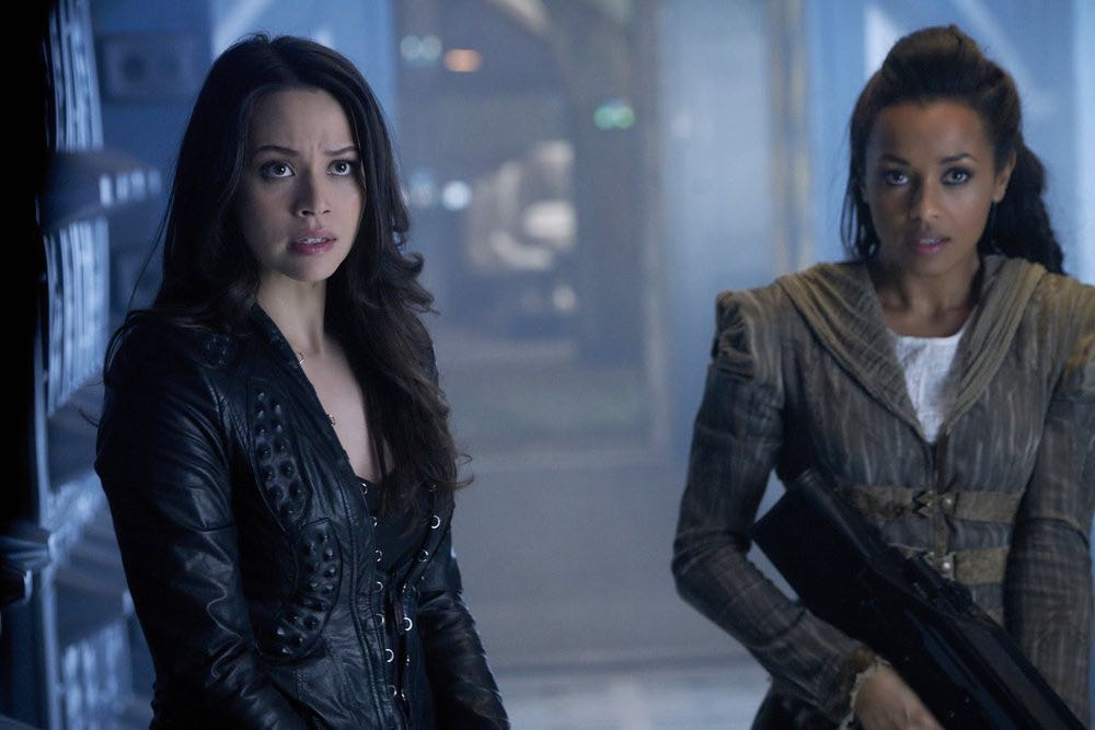 """DARK MATTER -- """"We Should Have Seen This Coming"""" Episode 206 -- Pictured: (l-r) Melissa O'Neil as Two, Melanie Liburd as Nyx -- (Photo by: Steve Wilkie/Prodigy Pictures/Syfy)"""