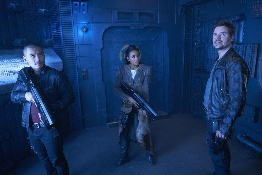"DARK MATTER -- ""We Should Have Seen This Coming"" Episode 206 -- Pictured: (l-r) Alex Mallari, Jr. as Four, Melanie Liburd as Nyx, Anthony Lemke as Three -- (Photo by: Steve Wilkie/Prodigy Pictures/Syfy)"
