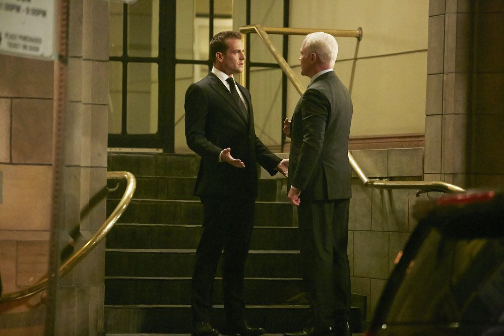 "SUITS -- ""Turn"" Episode 604 -- Pictured: (l-r) Gabriel Macht as Harvey Specter, Neal McDonough as Sean Cahill -- (Photo by: Ian Watson/USA Network)"