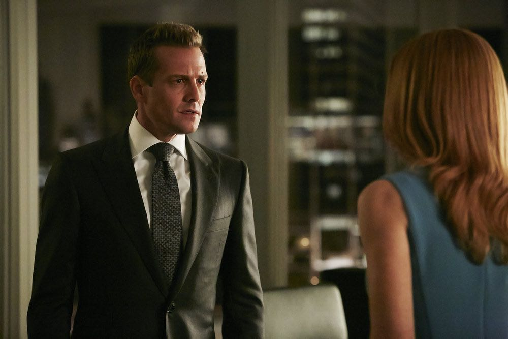 "SUITS -- ""Turn"" Episode 604 -- Pictured: Gabriel Macht as Harvey Specter -- (Photo by: Ian Watson/USA Network)"