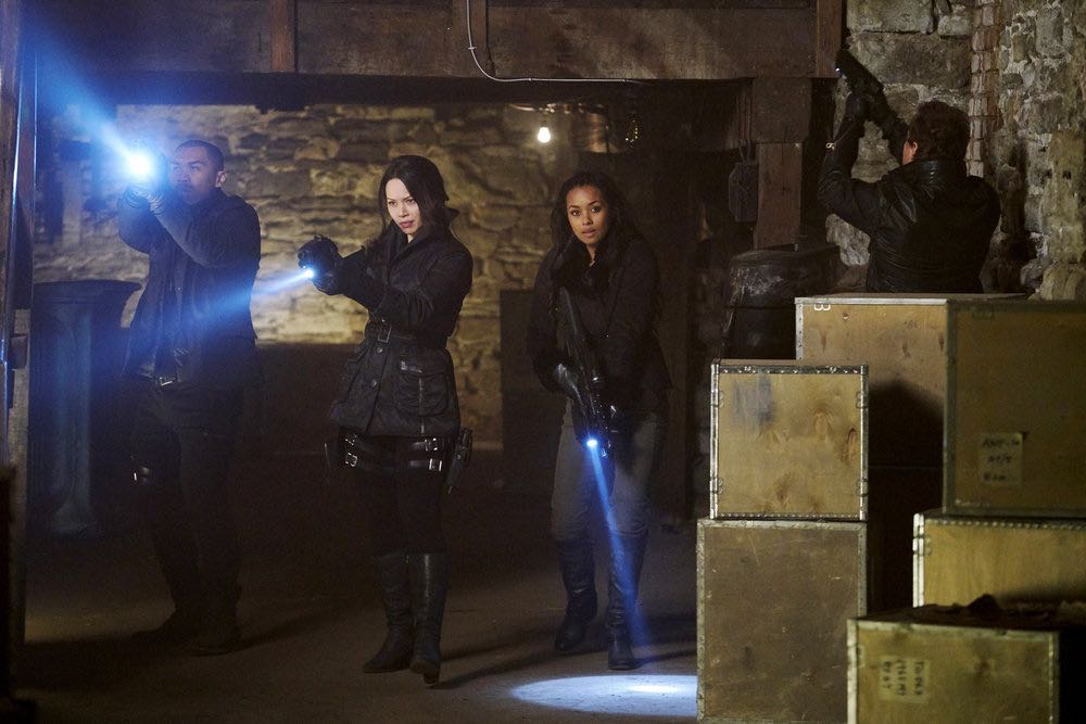 "DARK MATTER -- ""We Voted Not to Space You"" Episode 205 -- Pictured: (l-r) Alex Mallari, Jr. as Four, Melissa O'Neil as Two, Melanie Liburd as Nyx -- (Photo by: Steve Wilkie/Prodigy Pictures/Syfy)"