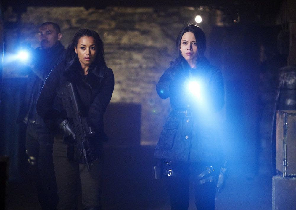 "DARK MATTER -- ""We Voted Not to Space You"" Episode 205 -- Pictured: (l-r) Alex Mallari, Jr. as Four, Melanie Liburd as Nyx, Melissa O'Neil as Two -- (Photo by: Steve Wilkie/Prodigy Pictures/Syfy)"