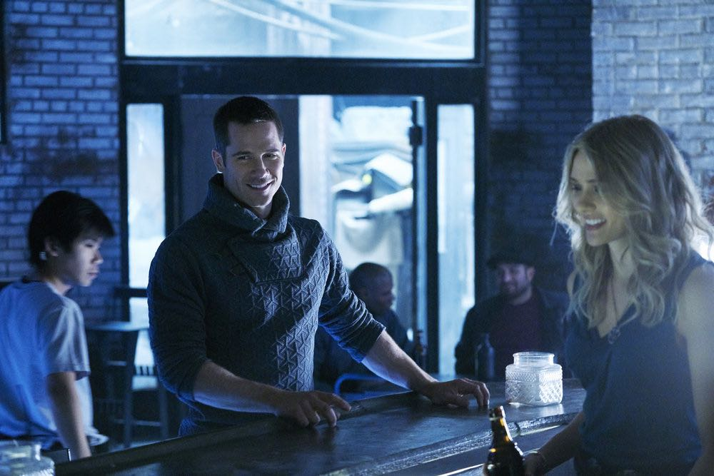 KILLJOYS -- Episode 205 -- Pictured: (l-r) Luke Macfarlane as D'avin, Tori Anderson as Sabine -- (Photo by: Steve Wilkie/Syfy/Killjoys II Productions Limited)