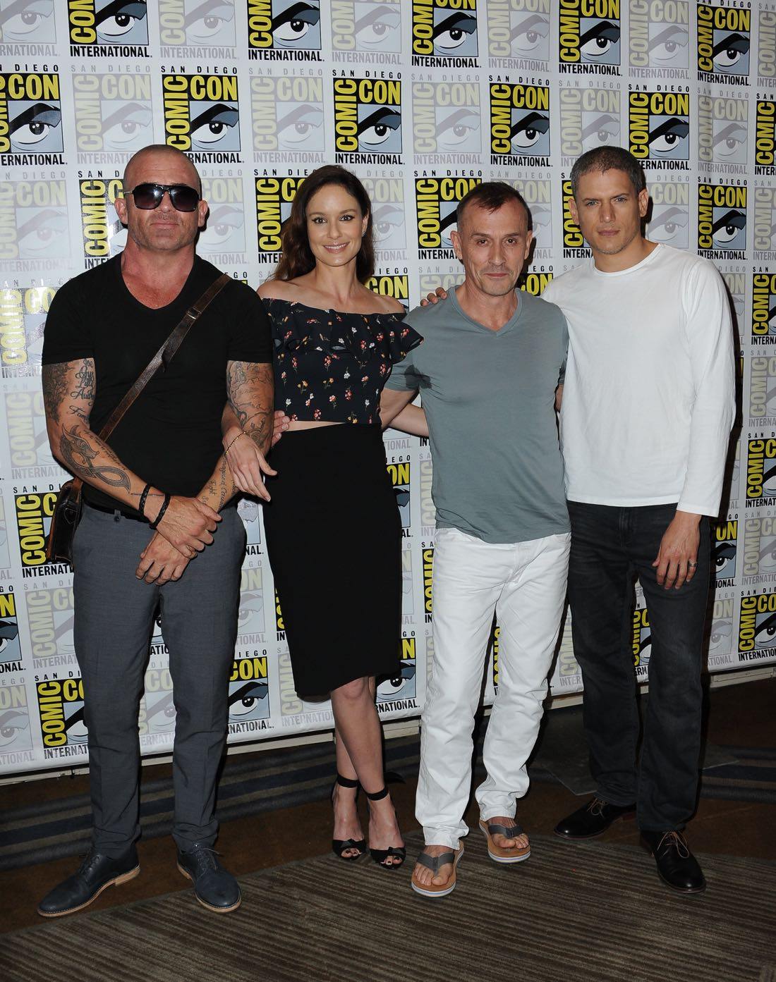 FOX FANFARE AT SAN DIEGO COMIC-CON © 2016: PRISON BREAK cast member Domininc Pucell, Sarah Wayne Callies, Robert Knepper and Wentworth Miller during the PRISON BREAK press room on Sunday, July 24 at the FOX FANFARE AT SAN DIEGO COMIC-CON © 2016. CR: Scott Kirkland/FOX © 2016 FOX BROADCASTING