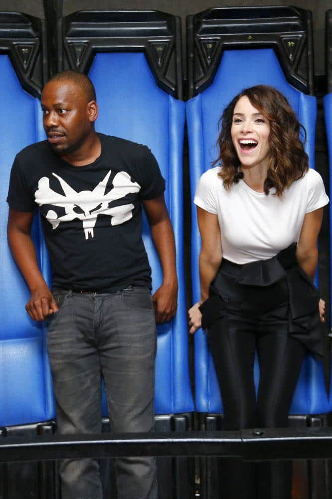 """COMIC-CON INTERNATIONAL: SAN DIEGO 2016 -- NBC at Comic-Con -- Pictured: (l-r) Malcolm Barrett, Abigail Spencer at the """"Timeless"""" NBC Activation at Tin Fish, San Diego, Calif., Saturday, July 23, 2016 -- (Photo by: Mark Davis/NBC)"""