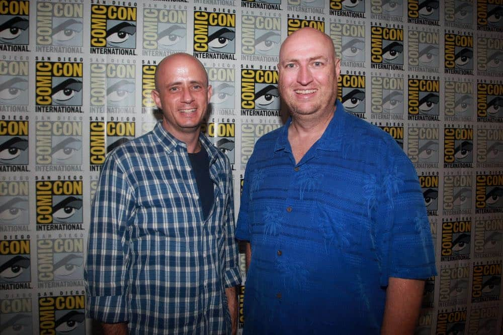 """COMIC-CON INTERNATIONAL: SAN DIEGO 2016 -- """"Timeless"""" Press Room -- Pictured: (l-r) Eric Kripke, Executive Producer; Shawn Ryan, Executive Producer, Saturday, July 23, 2016, from the Hilton Bayfront, San Diego, Calif. -- (Photo by: David Yeh/NBC)"""