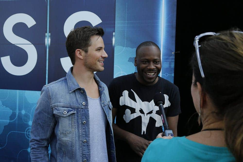 "COMIC-CON INTERNATIONAL: SAN DIEGO 2016 -- ""NBC at Comic-Con"" -- Pictured: (l-r) Matt Lanter, Malcolm Barrett, ""Timeless"", at the NBC Activation, Tin Fish, San Diego, Calif., July 23, 2016 -- (Photo by: Daniel Cristol/NBC)"