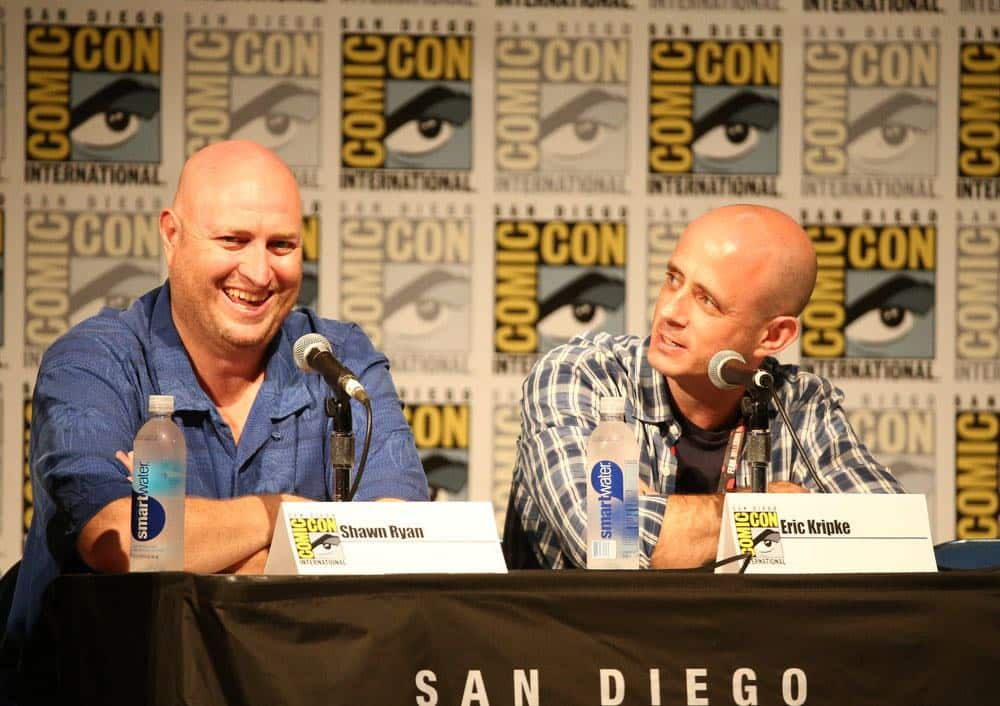 "COMIC-CON INTERNATIONAL: SAN DIEGO 2016 -- ""Timeless Panel"" -- Pictured: (l-r) Shawn Ryan, Co-Creator/Executive Producer; Eric Kripke, Co-Creator/Executive Producer, Saturday, July 23, 2016, from the San Diego Convention Center, San Diego, Calif. -- (Photo by: Mark Davis/NBC)"