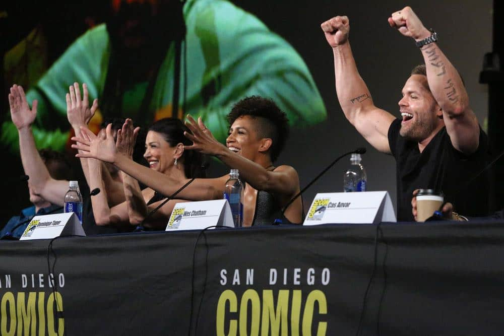 "COMIC-CON INTERNATIONAL: SAN DIEGO -- ""The Expanse Panel"" -- Pictured: (l-r) Shohreh Aghdashloo, Dominique Tipper, Wes Chatham -- (Photo by: Evans Vestal Ward/Syfy)"