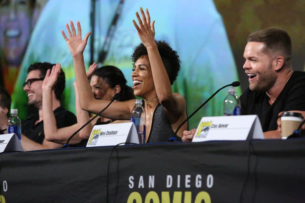 "COMIC-CON INTERNATIONAL: SAN DIEGO -- ""The Expanse Panel"" -- Pictured: (l-r) Steven Strait, Shohreh Aghdashloo, Dominique Tipper, Wes Chatham -- (Photo by: Evans Vestal Ward/Syfy)"