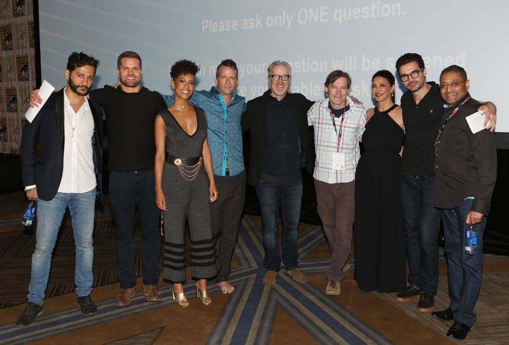 "COMIC-CON INTERNATIONAL: SAN DIEGO -- ""The Expanse Panel"" -- Pictured: (l-r) Cas Anvar, Wes Chatham, Dominique Tipper, Thomas Jane, Adam Savage, Executive Producer Mark Fergus, Shohreh Aghdashloo, Steven Strait, Executive Producer Naren Shankar -- (Photo by: Evans Vestal Ward/Syfy)"