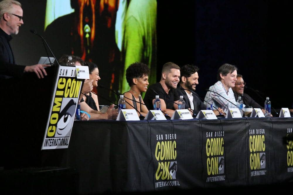 "COMIC-CON INTERNATIONAL: SAN DIEGO -- ""The Expanse Panel"" -- Pictured: (l-r) Adam Savage, Shohreh Aghdashloo, Dominique Tipper, Wes Chatham, Cas Anvar, Executive Producers Mark Fergus, Naren Shankar -- (Photo by: Evans Vestal Ward/Syfy)"