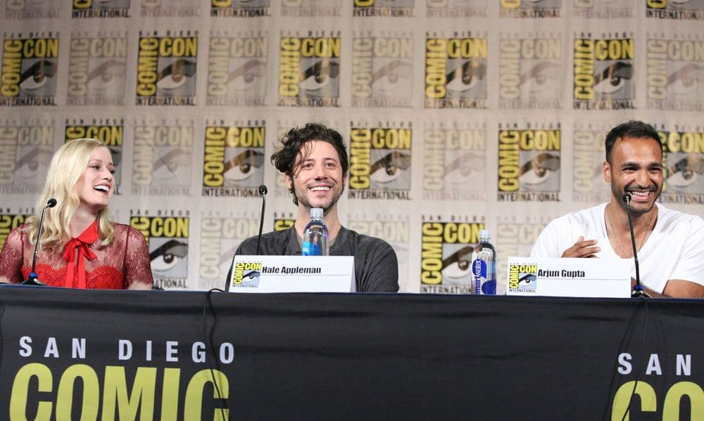 "COMIC-CON INTERNATIONAL: SAN DIEGO -- ""The Magicians Panel"" -- Pictured: (l-r) Olivia Taylor Dudley, Hale Appleman, Arjun Gupta  -- (Photo by: Evans Vestal Ward/Syfy)"