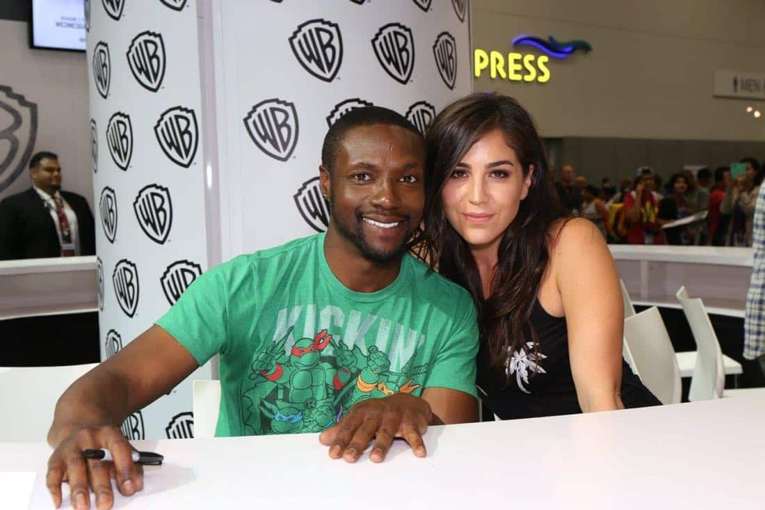 BLINDSPOT stars Rob Brown (left) and Audrey Esparza at the Warner Bros. booth during Comic-Con 2016 on Friday, July 22. #WBSDCC ( © 2016 WBEI. All Rights Reserved)