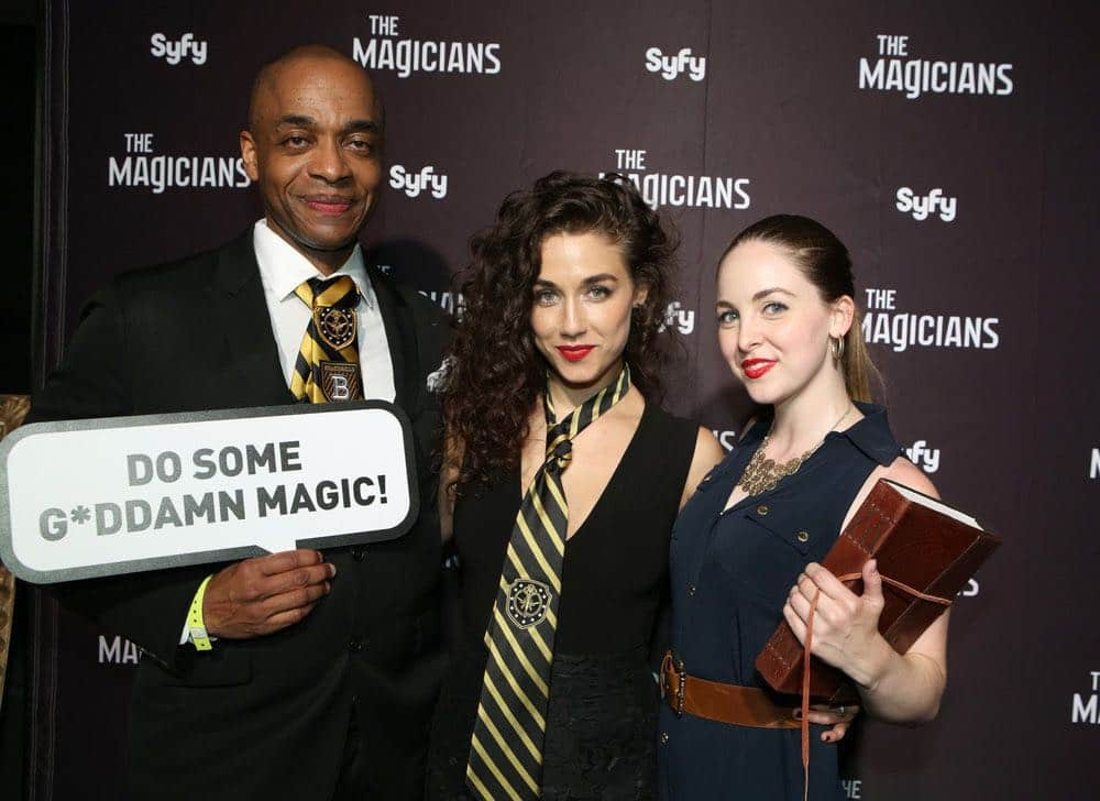 """COMIC-CON INTERNATIONAL: SAN DIEGO -- """"The Magicians Party at Hotel Solamar"""" -- Pictured: (l-r) Rick Worthy, Jade Tailor, Brittany Curran -- (Photo by: Evans Vestal Ward/Syfy)"""