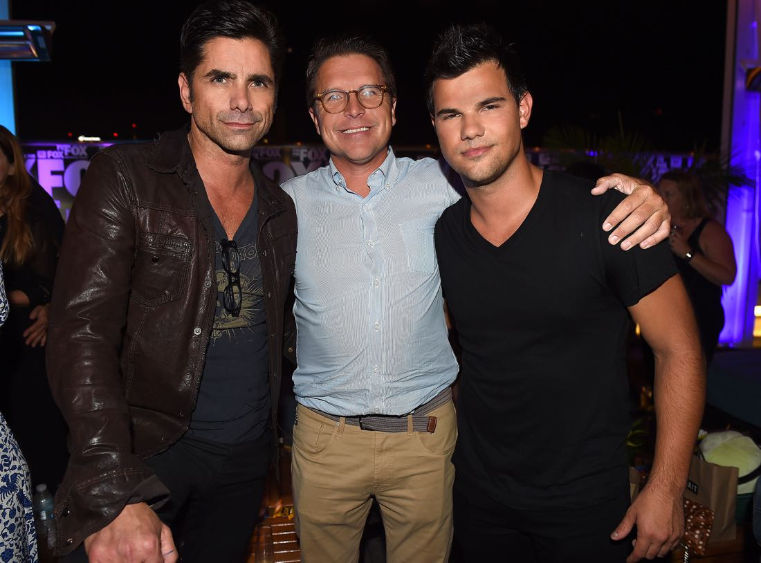 FOX FANFARE ALL-STAR COMIC CON PARTY AT SAN DIEGO COMIC-CON © 2016: John Stamos, 20th Century Fox TV's President of Creative Affairs Jonnie Davis, and Taylor Lautner attend the FOX FANFARE ALL-STAR COMIC CON PARTY AT SAN DIEGO COMIC-CON © 2016 on Friday, July 22 at the Andaz Hotel in San Diego, CA. CR: Frank Micelotta/FOX © 2016 FOX BROADCASTING