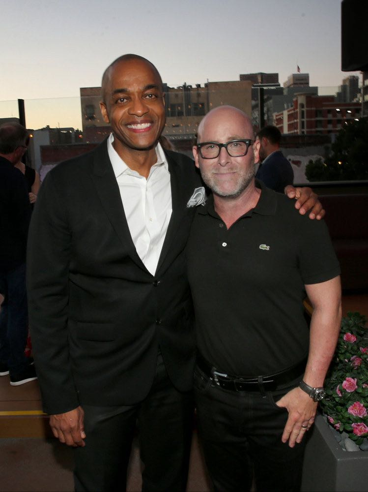 """COMIC-CON INTERNATIONAL: SAN DIEGO -- """"UCP Party"""" -- Pictured: (l-r) Rick Worthy, """"The Magicians""""; Mark Binke, EVP Production, UCP -- (Photo by: Mark Davis/Universal Cable Productions)"""