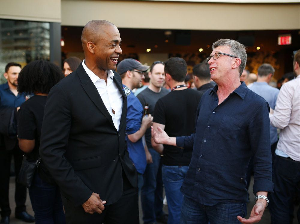 """COMIC-CON INTERNATIONAL: SAN DIEGO -- """"UCP Party"""" -- Pictured: (l-r) Rick Worthy; """"The Magicians""""; Richard Rothstein, EVP Current Programming, UCP -- (Photo by: Mark Davis/Universal Cable Productions)"""