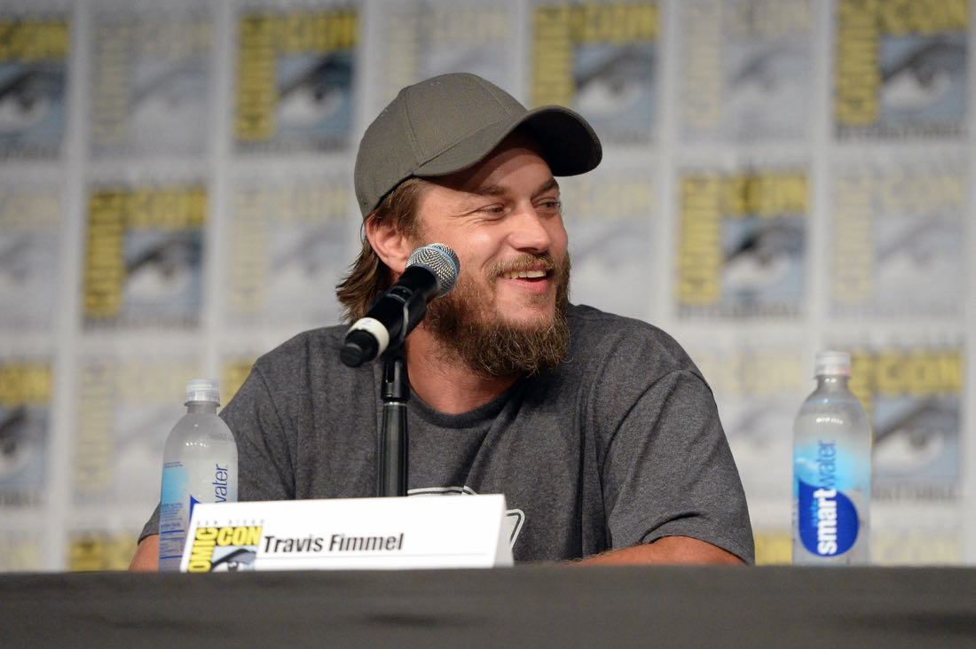 "SAN DIEGO, CA - JULY 22: Actor Travis Fimmel attends the ""Vikings"" panel during Comic-Con International 2016 at San Diego Convention Center on July 22, 2016 in San Diego, California. (Photo by Charley Gallay/Getty Images for HISTORY )"