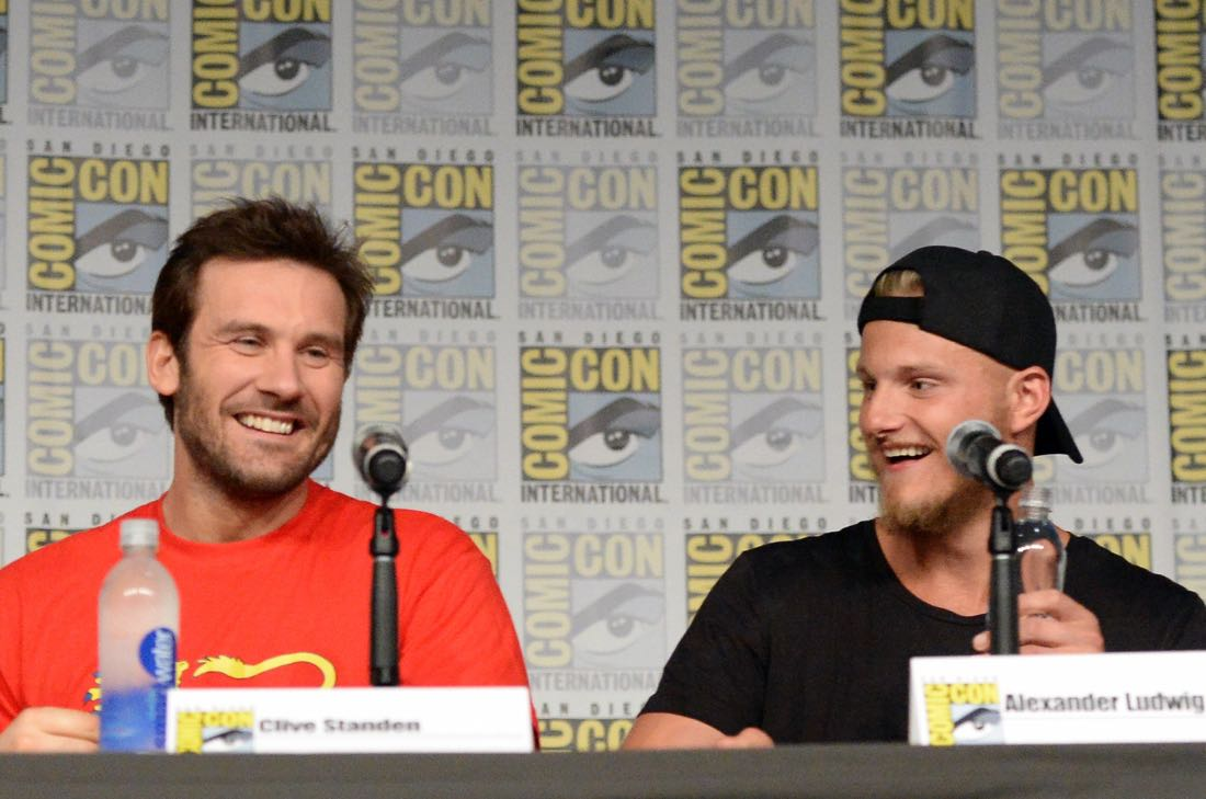 "SAN DIEGO, CA - JULY 22: (L-R) Actors Clive Standen and Alexander Ludwig attend the ""Vikings"" panel during Comic-Con International 2016 at San Diego Convention Center on July 22, 2016 in San Diego, California. (Photo by Charley Gallay/Getty Images for HISTORY )"